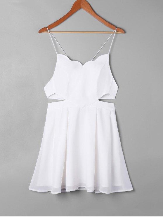 Robe de Bain Festonnée Découpée Latérale - Blanc M