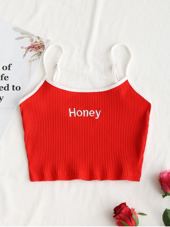 Ribbed Cropped Honey Embroidered Tank Top RED: Tank Tops ...