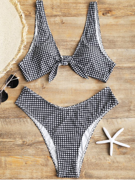 Bikini en Carreaux Taille Haute avec Noeud Devant - Blanc et Noir XL