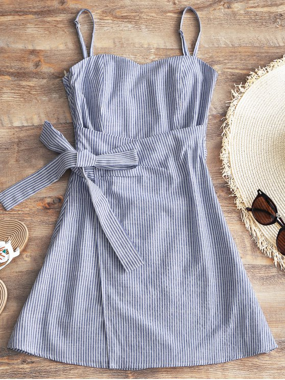 fancy Cami Smocked Wrap Striped Dress - STRIPE M