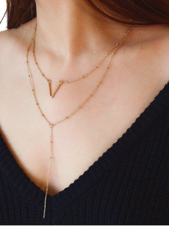 Collana A Multi Strati Con Motivo A Lettera V Unica - Oro