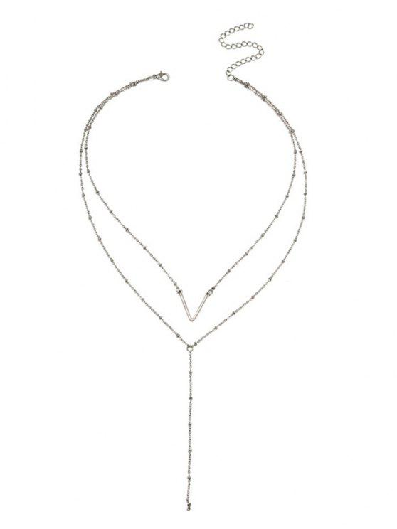 latest Unique V Pattern Layered Collarbone Necklace - SILVER