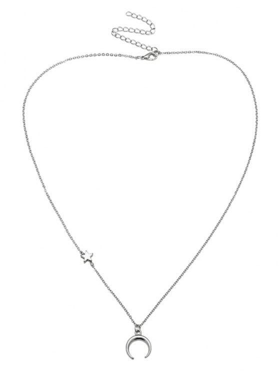 Collier Valentin étoile lune motif de collier - Argent