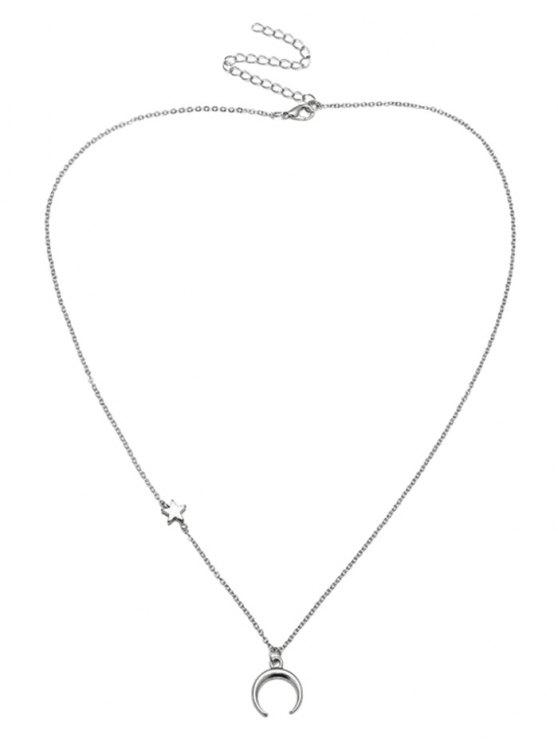 fashion Valentines Star Moon Pattern Collarbone Necklace - SILVER
