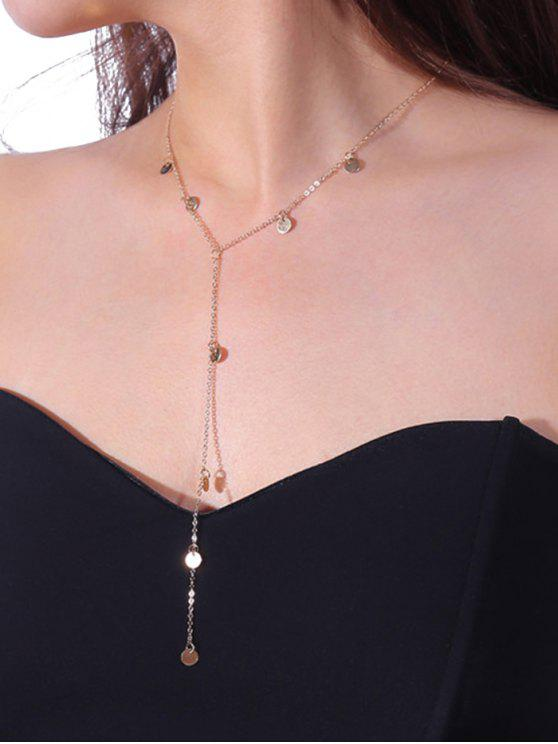 Metall Pailletten Fransen Anhänger Halskette - Golden