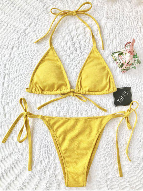 women Textured String Bikini Set - YELLOW S