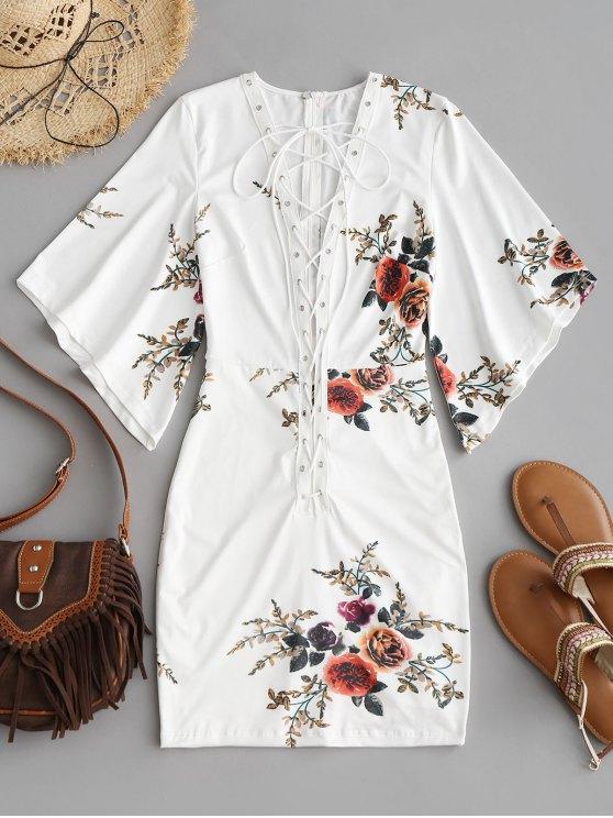 Mini vestido ajustado floral con cordones - Blanco L