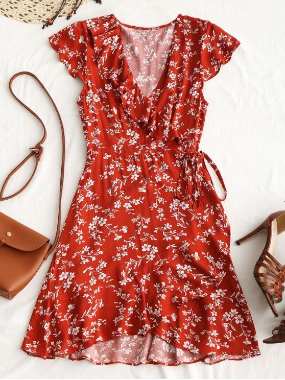 hot Tiny Floral Ruffle Mini Wrap Dress - BRICK-RED M