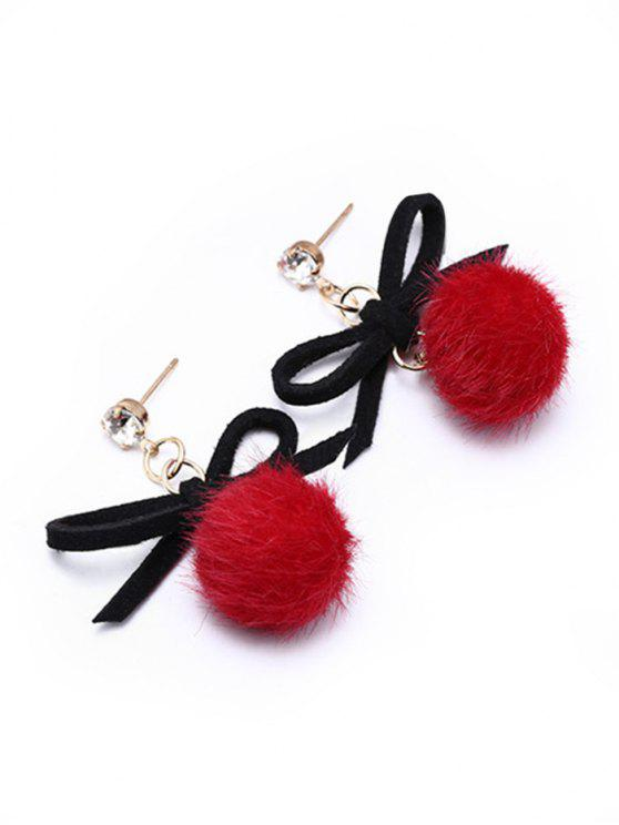 shops Cute Bowknot Fuzzy Ball Drop Earrings - RED