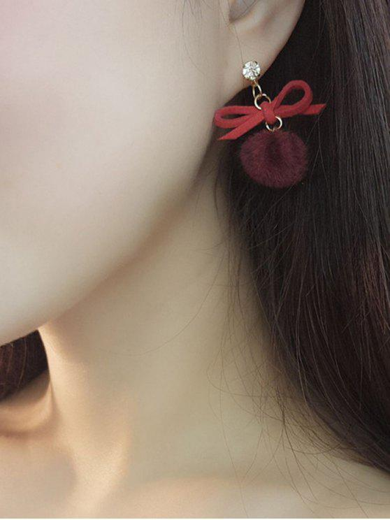 Cute Bowknot Fuzzy Ball Drop Pendientes - Vino Rojo
