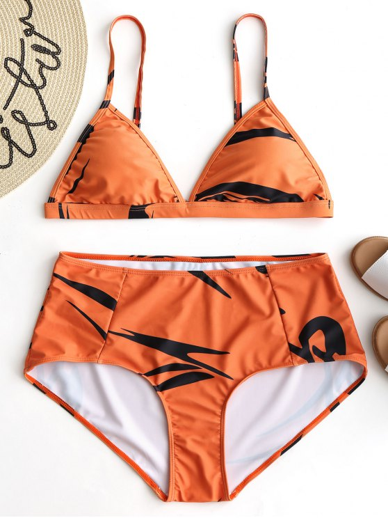 Conjunto de Bikini Plus Size Impreso - Naranja XL