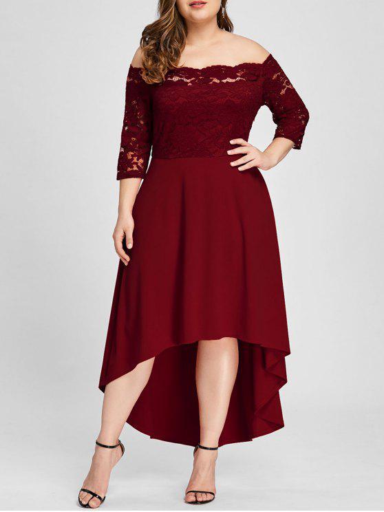 affordable Plus Size Off Shoulder Dip Hem Lace Dress - WINE RED 2XL