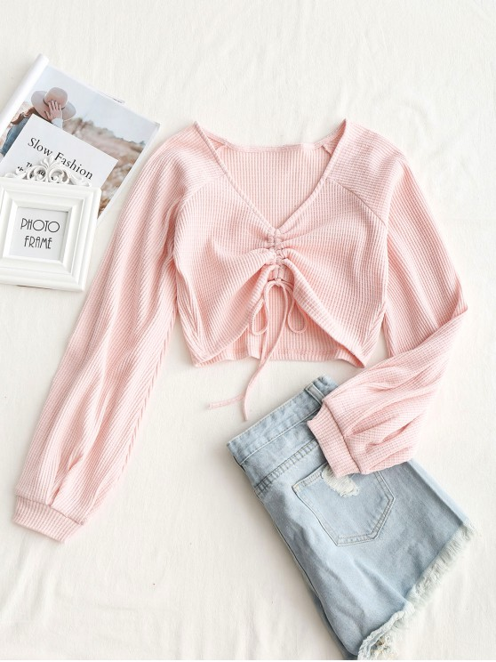 best Textured Knitted Gathered Top - PINK S