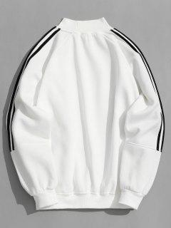 Sweat-shirt En Molleton à Manches Rayées - Blanc M
