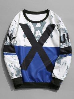 Sweat-shirt à Col Ras Du Cou à Motif - Bleu Et Blanc L
