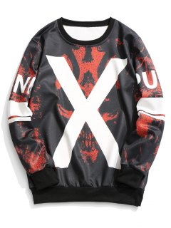 X Graphic Crew Neck Sweatshirt - Red With Black L