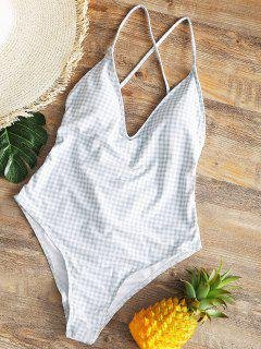 Ruched High Cut Checked Swimwear - Grey And White L