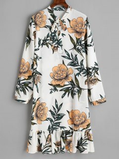 Bow Tied Floral Ruffle Long Sleeve Dress - White S