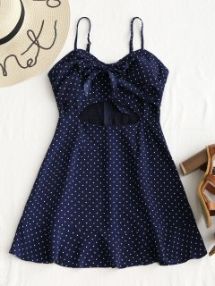 Tie Polka Dot Cut Out Mini Dress - Deep Blue M