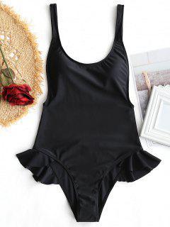 Ruffles Low Back One Piece Swimwear - Black L