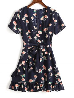Belted Floral Ruffle Mini Dress - Purplish Blue L