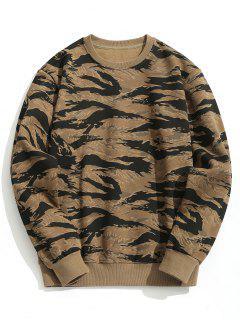Crew Neck Fleeced Camo Sweatshirt - Camouflage M