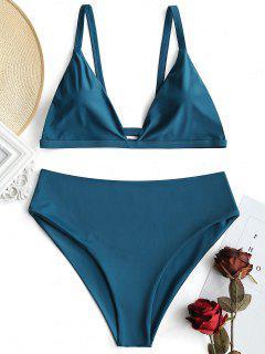 Plus Size Padded High Waisted Bikini Set - Malachite Green 3xl
