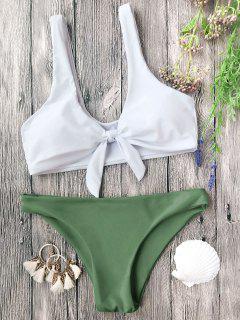 Gepolsterte Geknotete Bralette Bikini Set - Weiß Und Grün S