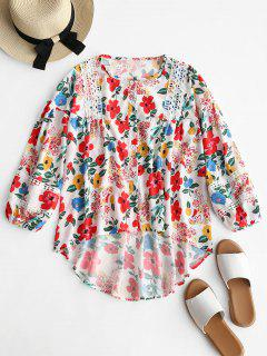 Crochet Panel Floral High Low Blouse - Floral