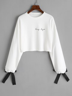 Tied Sleeve Cropped Letter Sweatshirt - White L