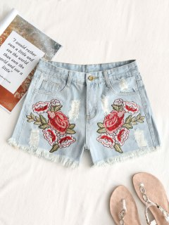 Frayed Destroyed Floral Embroidered Denim Shorts - Denim Blue L