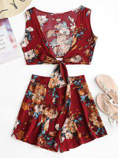 Plunge Floral Crop Top And Shorts Set - Floral S