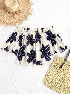 Blusa De Chifón Con Estampado Floral En El Hombro - Blanco