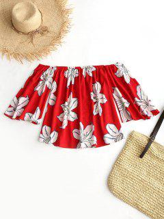 Off Shoulder Floral Print Chiffon Blouse - Red