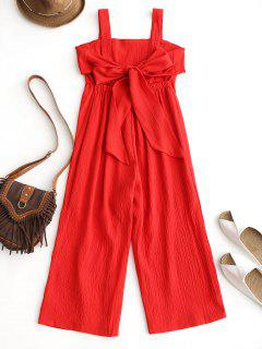 Empire Waist Backless Wide Leg Jumpsuit - Red M