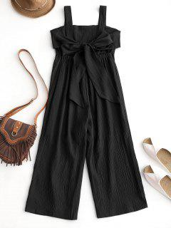 Empire Waist Backless Wide Leg Jumpsuit - Black L