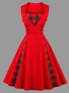 Robe Sans Manches Avec Empiècements à Carreaux Style Vintage Grande Taille - Rouge 4xl