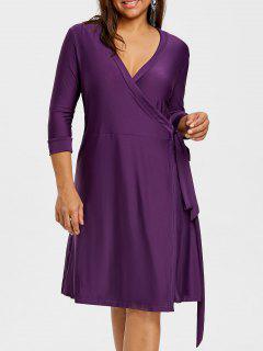 Vestido Con Cuello Redondo Y Manga Larga - Púrpura 5xl