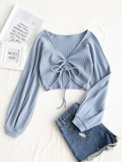 Textured Knitted Gathered Top - Grey Blue S