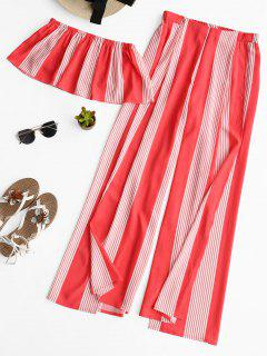 Striped Tube Top And High Slit Pants Set - Red M