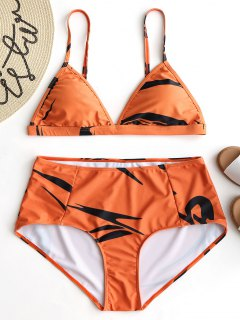 Printed Plus Size Bikini Set - Orange 4xl