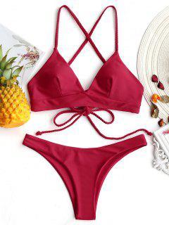 Geflochtener Cami Kreuz Rücken Bikini Set - Rot L
