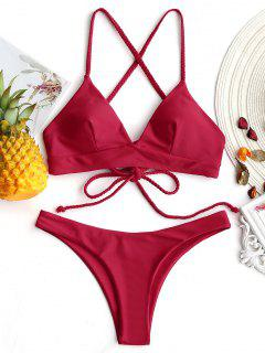Plaited Cami Cross Back Bikini Set - Red S