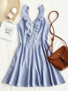 Striped Ruffle Criss Cross Back Mini Dress - Light Blue S