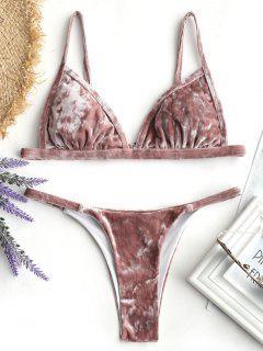 Gepolsterter Thong Samt Bikini Set - Russisch-rot M