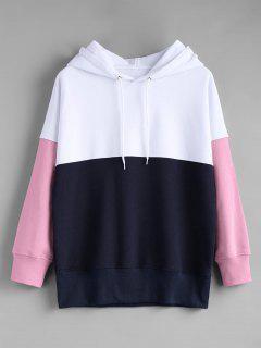 Contrast Longline Hoodie - Pink S