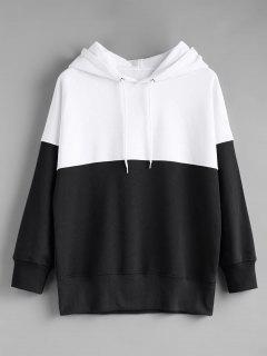 Contrast Longline Hoodie - Black White L