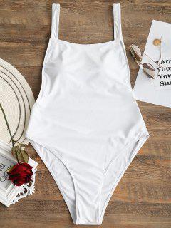 Open Back Plus Size High Cut Swimwear - White 3xl