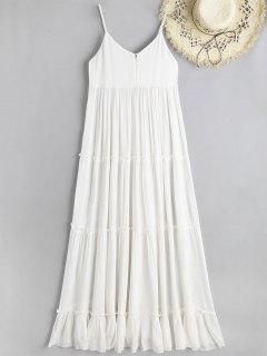 Robe De Plage Longue Plissée Volantée à Bretelles - Blanc L