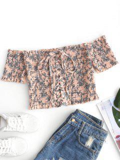 Off Shoulder Smocked Lace Up Floral Blouse - Light Apricot Pink L